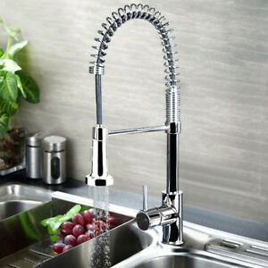 360° Swivel Pull Out Spray Taps Mixer Kitchen Sink Mixing Tap Spring ...