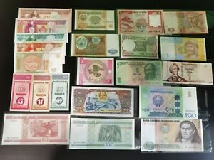 Set A : Mix World Banknote, 22 pcs, Mongolia, India, Peru, etc (UNC)