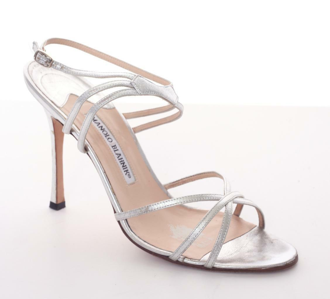 MANOLO BLAHNIK Silver Leather High Heel Multi-Strap Sandal Pump shoes 10-40