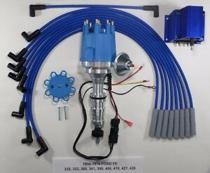 small cap ford fe 352 390 427 428 blue hei distributor coil spark rh ebay com Ford Distributor Wiring Ford Distributor Wiring