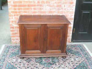 English-Antique-Oak-Jacobean-2-Doors-Cabinet-Linen-Cabinet