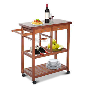 Wooden-Rolling-Kitchen-Island-Trolley-Cart-Storage-Shelf-W-Drawers-Baskets