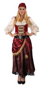 Costume da pirata donna PIRATESSA dei Vestito Set Completo zingari Gypsy Carnevale Carnevale  </span>