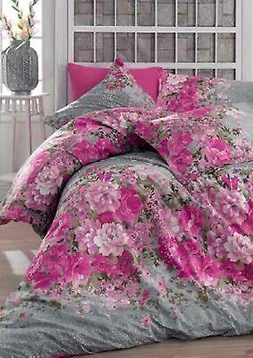 Bettwäsche 155x220 cm Bettgarnitur Bettbezug Baumwolle Kissen 3 tlg SUMMER LILA