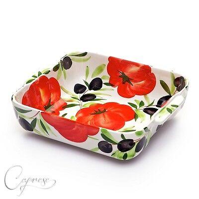 Inventivo Bassano Ceramica Sformato Forme Casseruola Pomodoro Con Olive Motivo Dall'italia Nuovo-