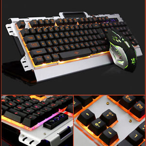 pc aluminum panel luminous wired gaming mechanical keyboard and mouse set gamer ebay. Black Bedroom Furniture Sets. Home Design Ideas