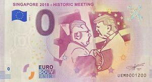 BILLET-0-EURO-SINGAPORE-2018-HISTORIC-MEETING-FRANCE-2018-NUMERO-1200