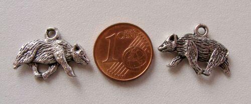 6 breloques perles OURS métal argenté 21mm DIY création bijoux B105