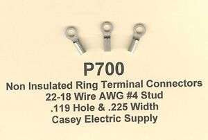 100 non insulated ring x small terminal connector 22 18 wire gauge image is loading 100 non insulated ring x small terminal connector greentooth Gallery