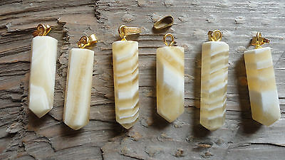 "Point set #13 Yellow Banded Onyx (pkg 6) Point Pendant stone set 1"" long"