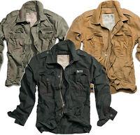 Surplus Heritage Vintage Jacket Black Washed Cool Army Biker Field