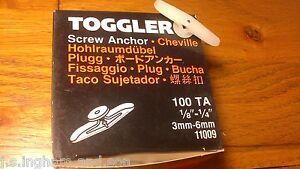 Job-Lot-1-Box-Of-100-Small-Hollow-Wall-Toggler-Anchor-1-8-034-1-4-034-3mm-6mm