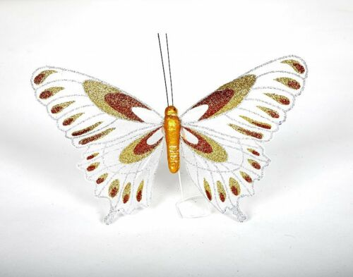 LARGE GLITTER BUTTERFLIES 12 PACK FREE POSTAGE 6 COLORS