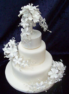 3 Tier Wedding Cake Flower Toppers Ivory Cream Pearl Cake Not