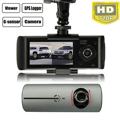 """2.7"""" In Car Taxi CCTV Front & Rear Dual Camera HD Video Journey Recorder Cam GPS"""