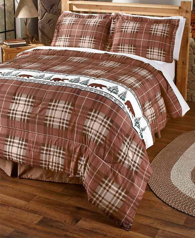 3 PC Rustic Lodge Log Cabin Kodiak Bear Plaid Shams Full Queen Comforter Set