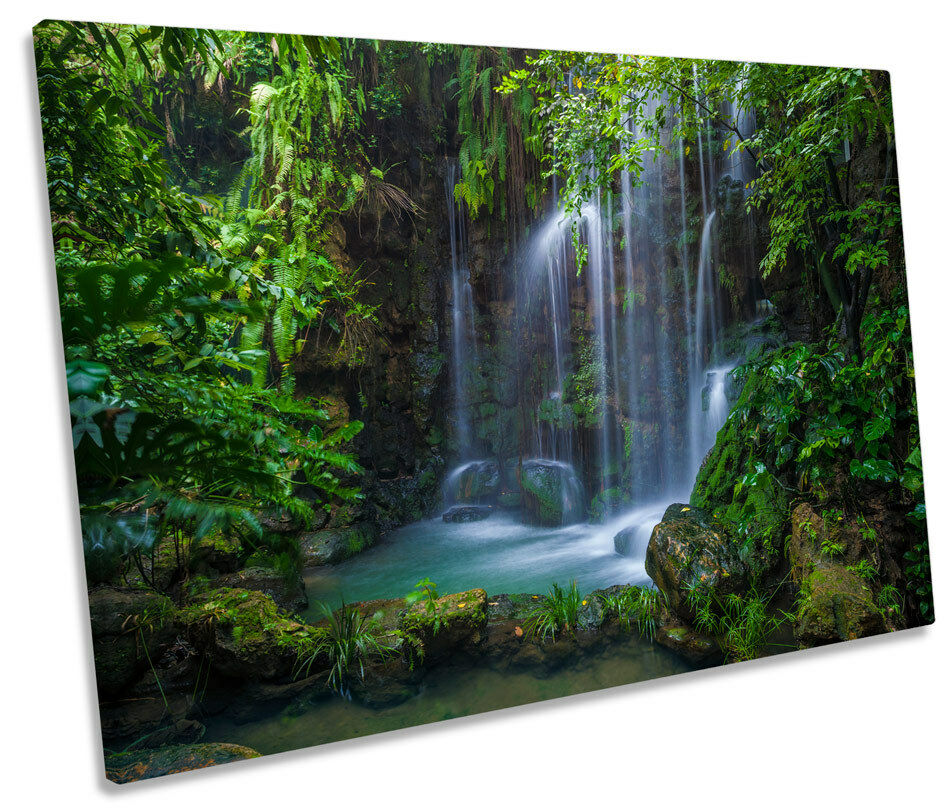 Grün Forest Waterfall CANVAS Wand Kunst Bild Drucken Single