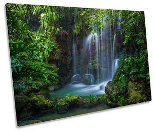 Waterfall Wall Art green forest waterfall canvas wall art picture print single | ebay