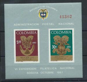 Colombie-Bloc-N-28-MNH-1967-6eme-exposition-philatelique-de-Bogota