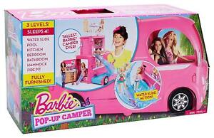 New Mattel Barbie Pop Up Camper Vehicle Plus 2 Dolls Raquel & Ken Dolls