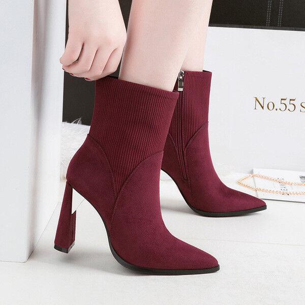 botas bajo zapatos tobillo rojo 10 cm elegantes como piel 9676