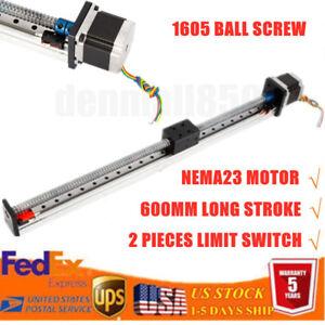 400//500//600mm CNC Linear Actuator Ball Screw Axis Rod Slide Stroke Nema 23 Motor