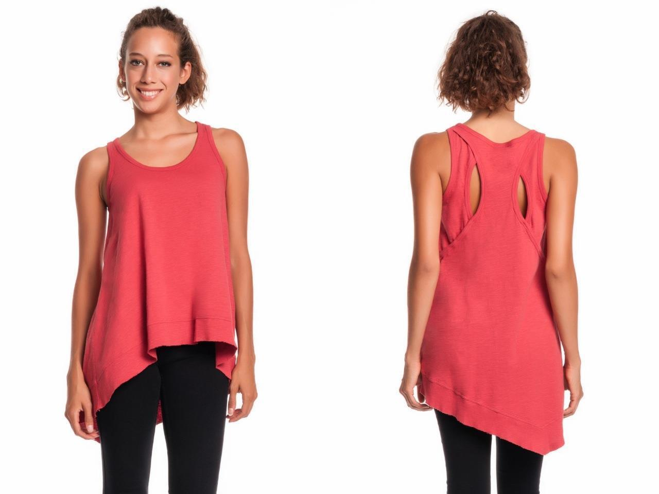 Wilt Cutout Back Tank CLAY Asymmetrical Hi Low Orange rot NEW Sleeveless Top