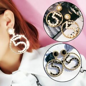 Fashion-Korean-Simple-Pearl-Number-5-Big-Women-Earrings-Big-Tassel-Dangle-Gift