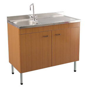 Mobile con lavello x cucina colore teak 100x50 cm gocciolatoio a ...