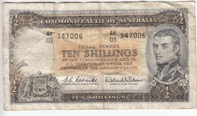 ND 1961-65 AUSTRALIA 10 SHILLINGS P#33 VG (SERIAL # 347006)