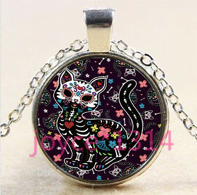 Sugar Flower Cat Cabochon Tibetan silver Glass Locket Pendant Necklace HZ-4513