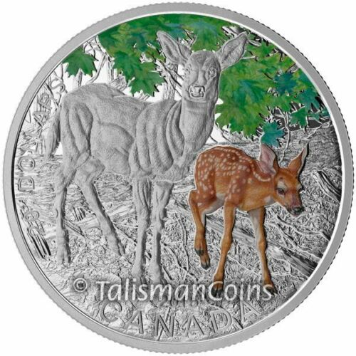 Canada 2015 Baby Animals #6 White Tailed Deer Fawn $20 Silver Proof in Full OGP