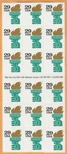 Scott-2531-Liberty-Torch-Postage-Stamp-booklet-Pane-of-18-29-cent-mint-MNH