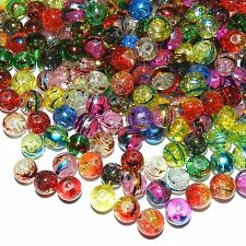 GL3715 Assorted Color 8mm Round Crackle Metallic Drawbench Glass Beads 100gm