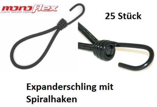 25x Planenspanner Expander Spanner mit Spiralhaken Schlinge 25cm schwarz