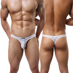 4-Pack-Men-039-s-Sexy-Underwear-Thongs-Bikini-T-back-Breathable-G-string-Underpants