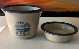 Brinker Pots Pottery 2 pieces Crock Dip Bowl Ceramic Beige with house 93