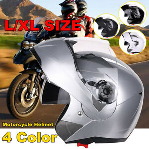 Motorcycle-Full-Face-Modular-Dual-Visor-Flip-Up-Sun-Shield-Helmet-L-XL-4-Colors