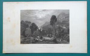 ITALY-Vietri-1833-Antique-Print-Engraving