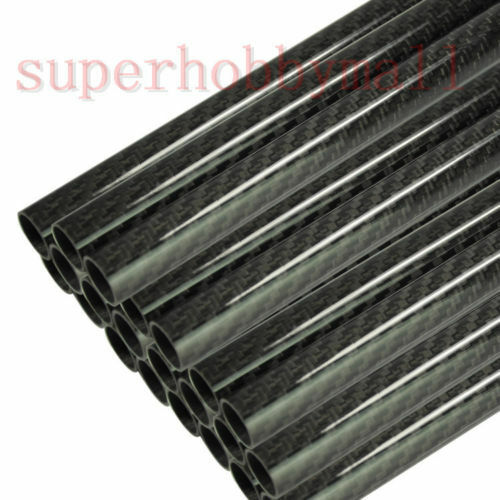 2PCS 10mm*12mm*500mm Roll Wrapped Carbon Fiber Tube 3K Glossy For Airplane New
