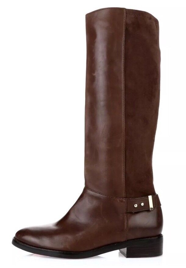 Cole Haan Adler Leather Suede Riding Boots Brown Women Sz 9.5 B 5834 *