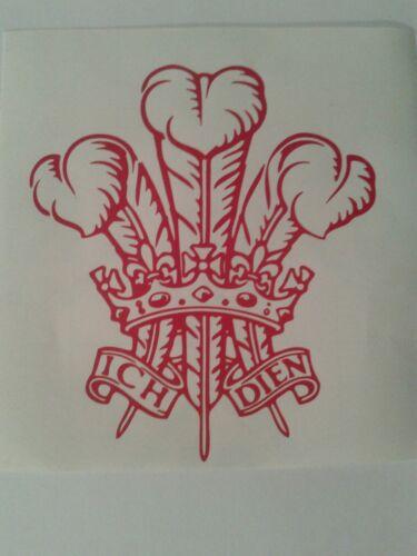 2 x small Welsh Three Feather car bumper stickers 14 x 12 cm decal van motorbike