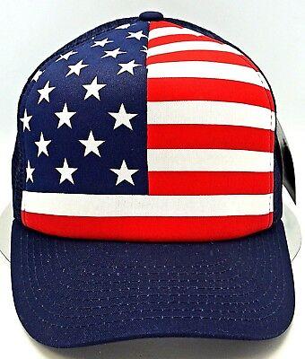 United States American Air Mesh Stretch Fit OSFM Black NWT USA Flag Cap Hat U.S