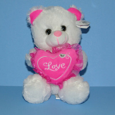 "Valentine 7/"" Stuffed Animal Plush Teddy Bear LOVE Pink Hearts Oso de Peluche NEW"