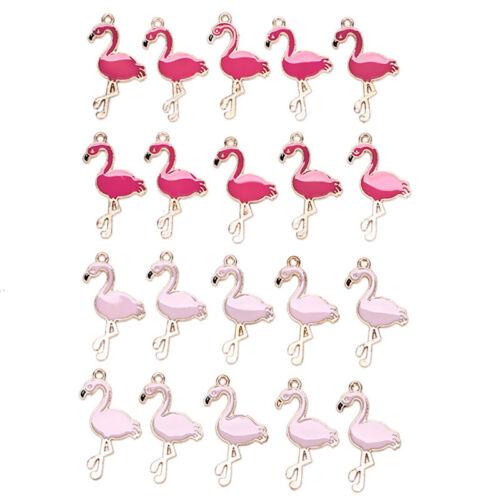 10PCS//Lot Alloy Enamel Flamingo Charms Pedants Crafts DIY Jewelry Findings GifKH