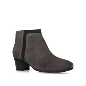 f5e2323a4 New Solea Comfort Fit Grey Black Suede Mid Heel Stretch Ankle Boots ...