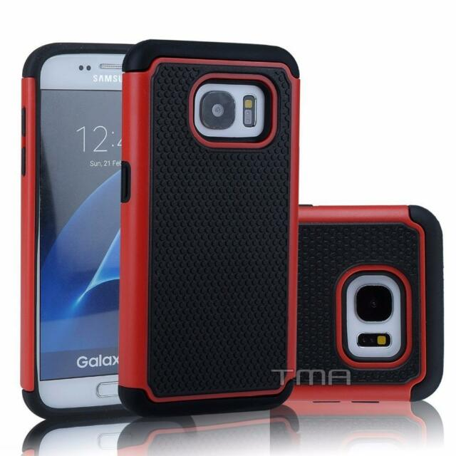 Fits Samsung Galaxy S7 Case Shockproof Rugged Impact Hybrid Rubber Cover - Red