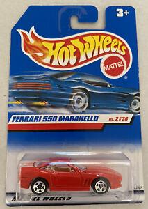 2000-HotWheels-FERRARI-550-MARANELLO-ROSSO-Nuovo-di-zecca-MOC