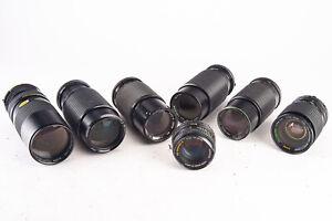 Vintage Lot of 7 Manual Focus Minolta MD Mount Camera Lenses Parts Repair V15
