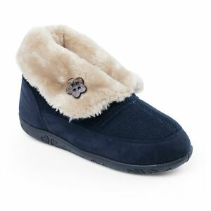 Padders EDEN Ladies Womens Faux Fur Extra Wide Fit Comfort Boot Slippers Navy